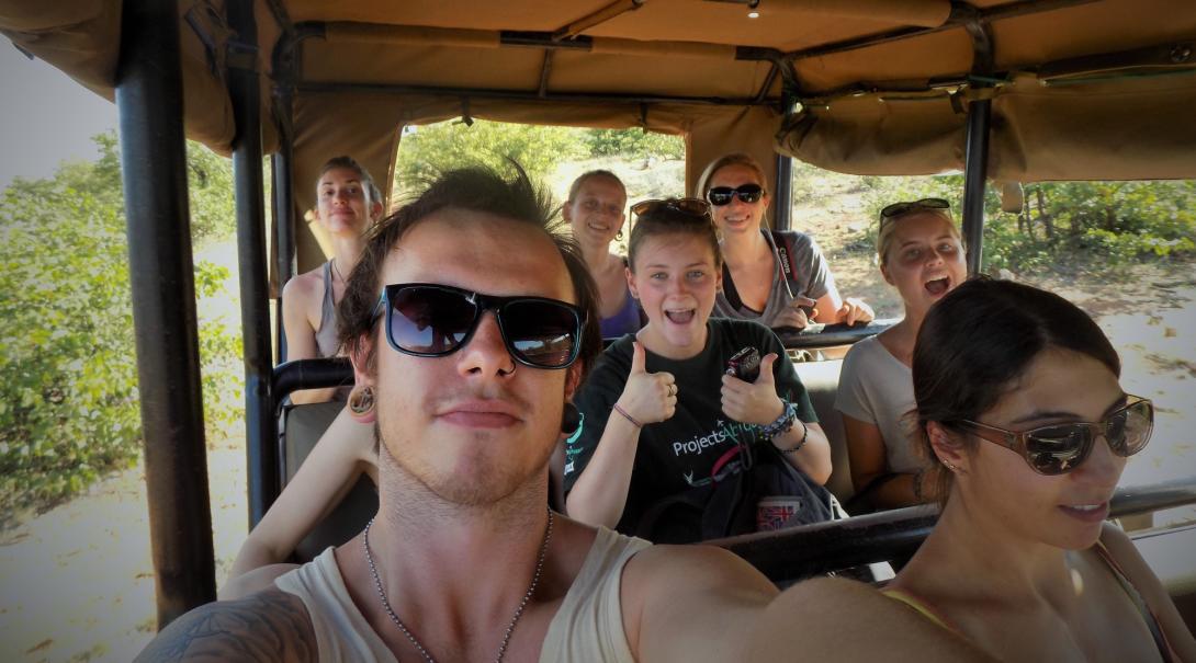 Projects Abroad teenage volunteers go on a safari during their Wildlife volunteering in Botswana.